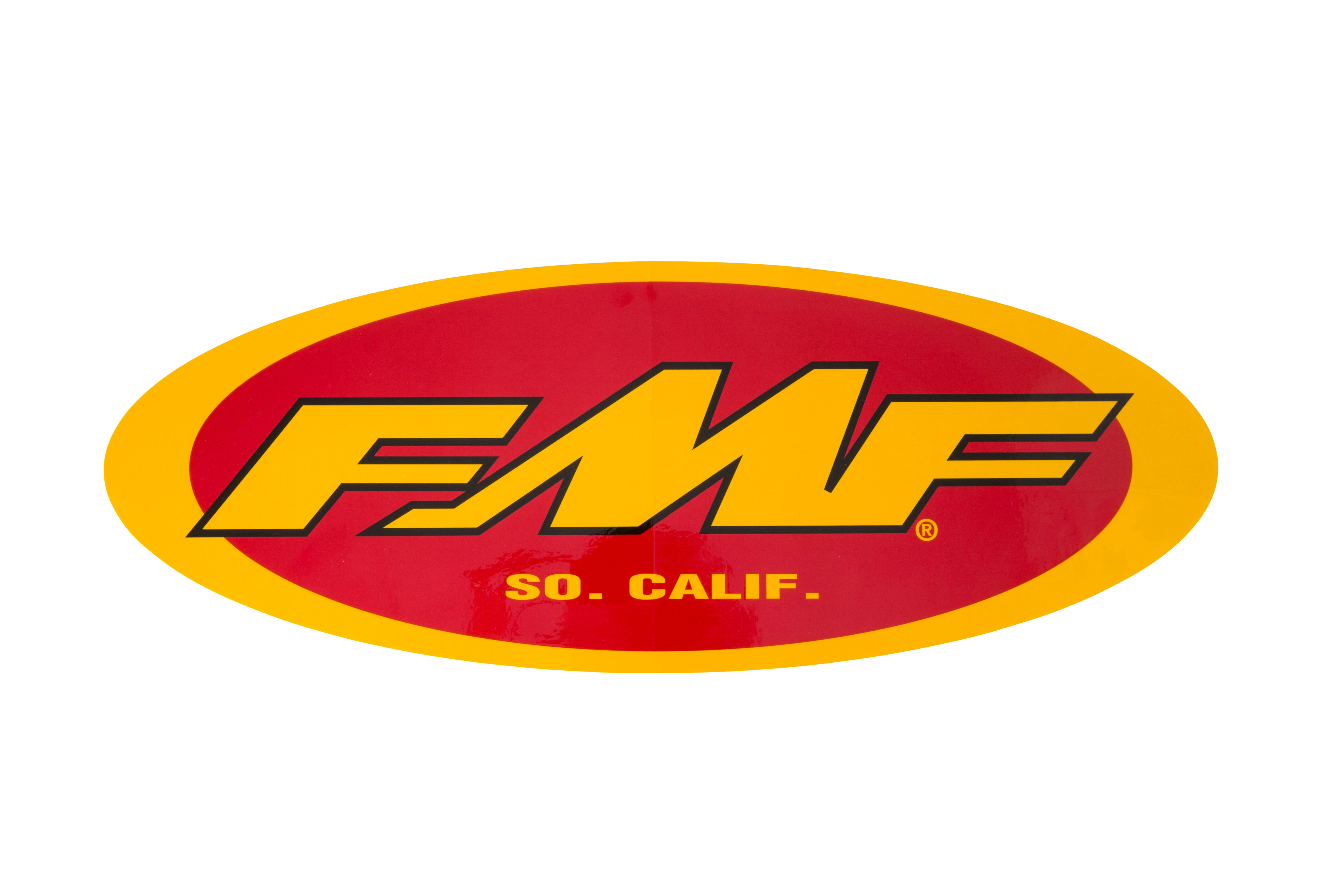 "FMF 5"" OVAL PROMO STKR (YEL/RED) (INDIVIDUAL)"